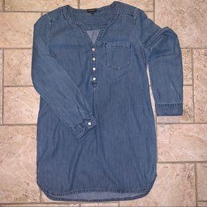 Express. Long Sleeve Denim Mini Dress. Size:Medium